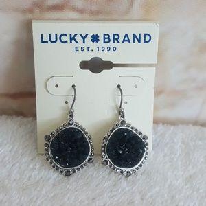 New Lucky Brand Silver Tone Druzy Drop Earrings